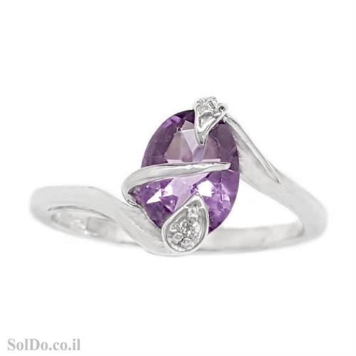 טבעת מכסף משובצת אבן אמטיסט וזרקונים RG6107 | תכשיטי כסף 925 | טבעות כסף
