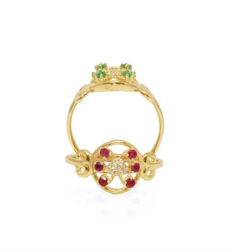 טבעת זהב עם אבני חן ויהלומים בסגנון פרח עם עיטורים בצדדים