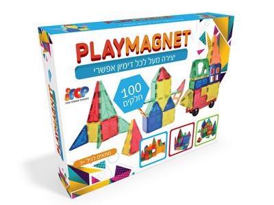 משחק מגנטים 100 חלקים PLAYMAGNET