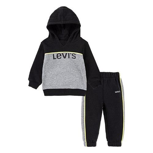 חליפת קפוצ׳ון LEVIS שחור/אפור - מידות 12 עד 24 חודשים