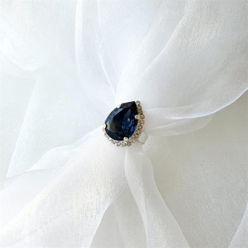 טבעת טיפה סברובסקי - כחול