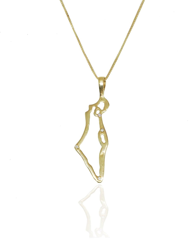 מפה של ישראל מזהב | שרשרת זהב עם תליון ארץ ישראל משובץ יהלומים 0.02 קראט