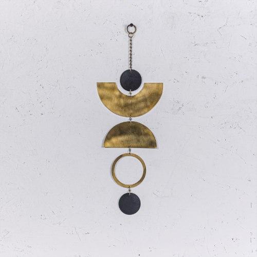 קישוט מתכת לקיר - קשתות ועיגולים (זהב)