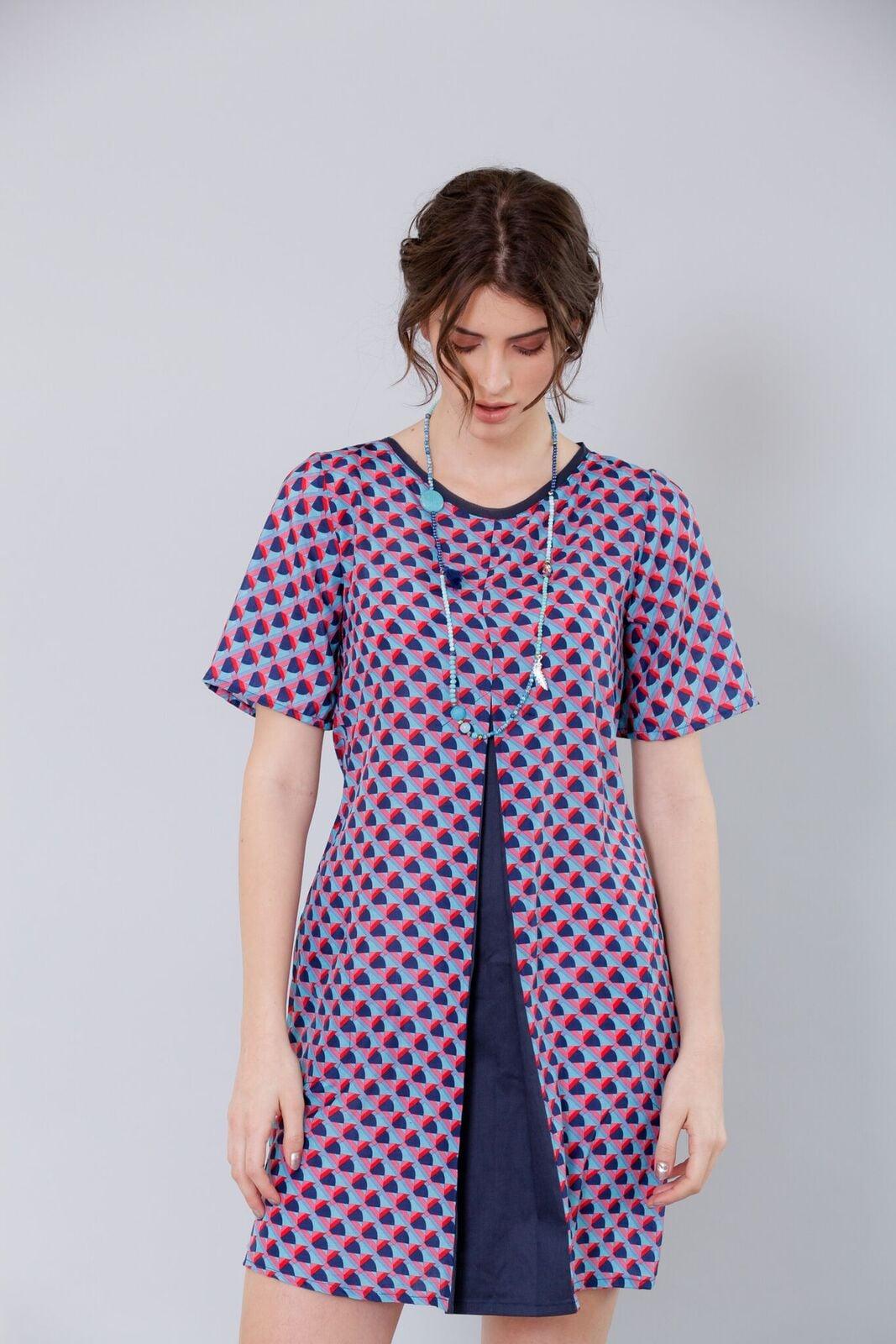 שמלת פוקהונטס גווני כחול-אדום