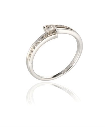 טבעת אירוסין מניפה 0.26 קראט יהלומים בזהב 14 קרט