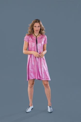 שמלת מונקו ורודה שרוול קצר