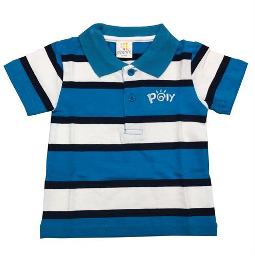 חולצת פולו פסים כחול-לבן-נייבי