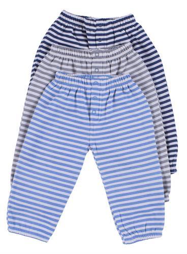 שלישיית מכנסי פוטר פסים כחול-אפור-תכלת