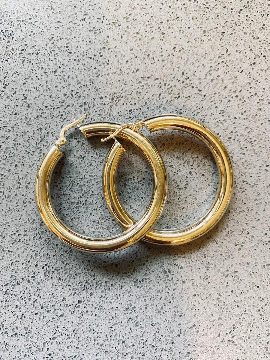 עגילי חישוק עבה XXL זהב 14K
