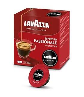 36 קפסולות קפה  LAVAZZA A MODO MIO מקורי , תערובת Passionale -אדום