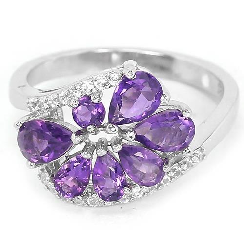 טבעת כסף משובצת אמטיסט סגול וזרקונים RG5090