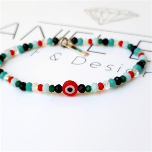 צמיד חרוזים-עין אדומה צבעוני כסף