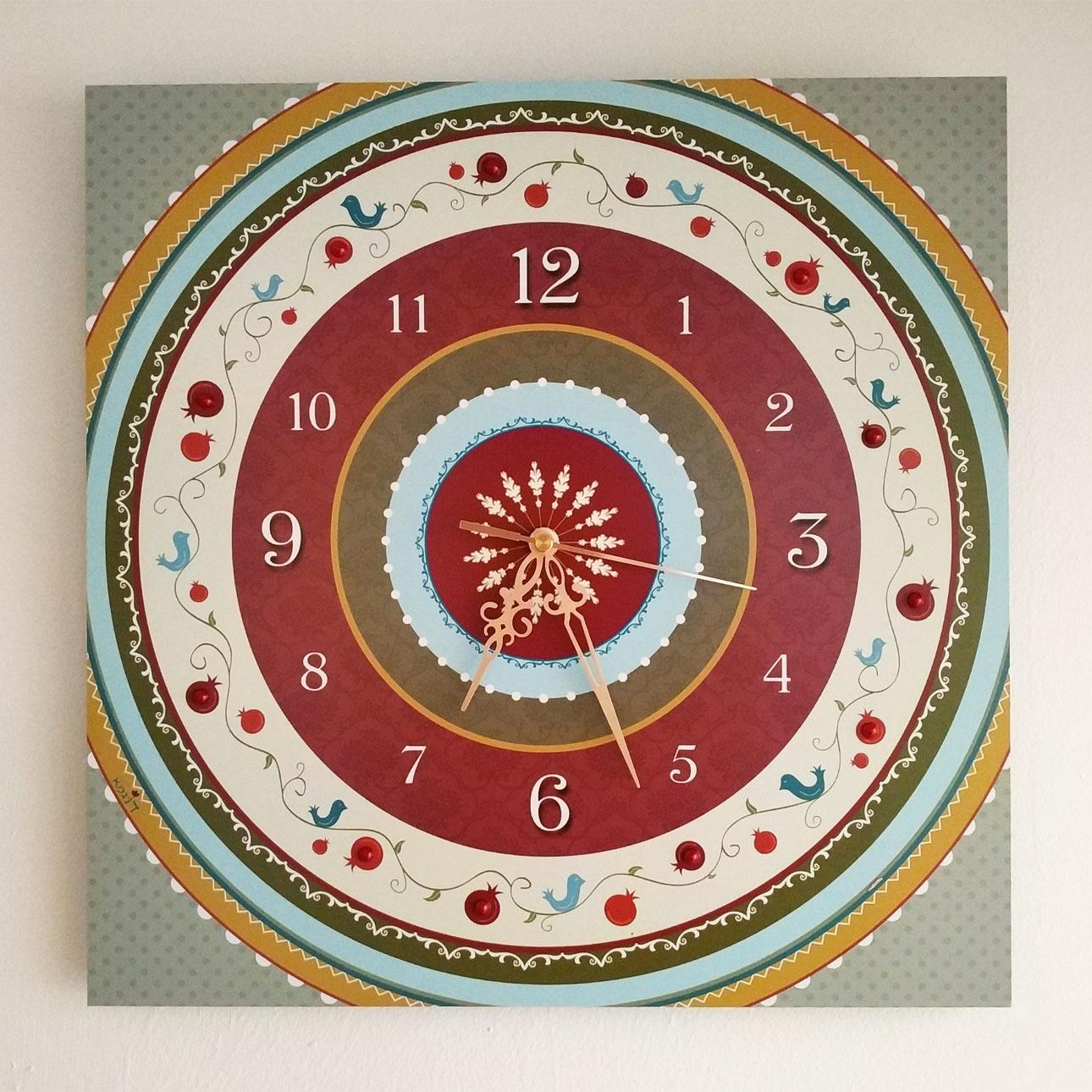 שעון קיר מעוצב - מעגלים (רימונים) - דוגמא