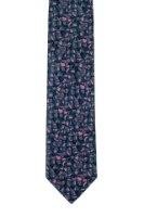 עניבה בהדפס מכחול ורוד - אפור