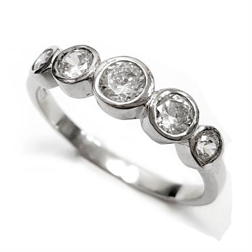 טבעת כסף משובצת 5 אבני זרקון RG5554 | תכשיטי כסף | טבעות כסף