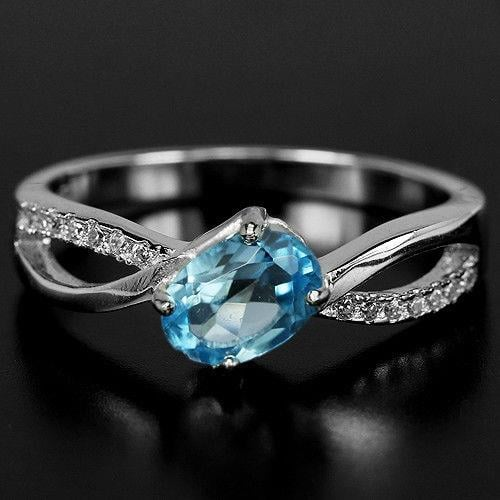 טבעת כסף משובצת טופז כחול וזרקונים RG5579 | תכשיטי כסף 925 | טבעות כסף