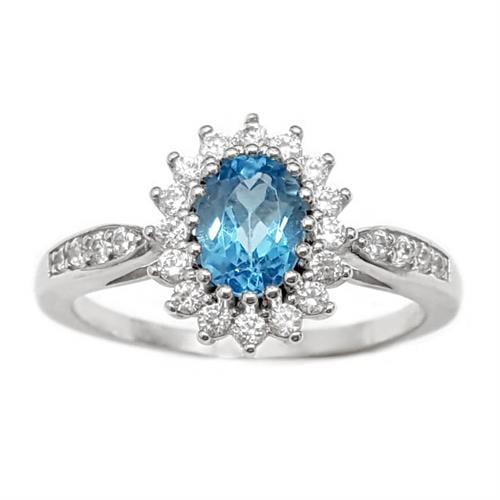 טבעת מכסף משובצת אבן טופז כחולה וזרקונים RG1574 | תכשיטי כסף 925 | טבעות כסף