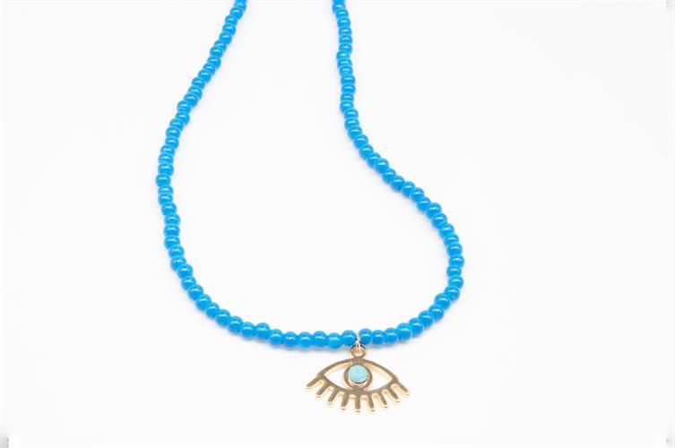 שרשרת חרוזים כחולים עם תליון עין