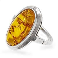 טבעת מכסף בשיבוץ ענבר צבע קוניאק RG5986 | תכשיטי כסף 925 | טבעות כסף