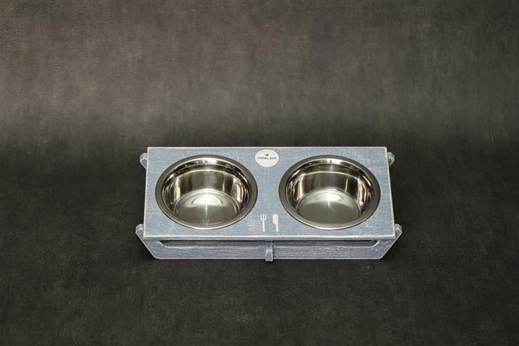 כלי אוכל ושתיה לכלב- שוטים M אפור בטון
