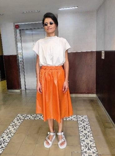 חצאית מניילון יפני - כתום