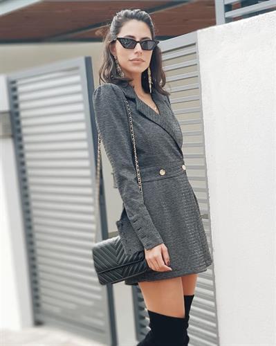 אוברול חצאית בלייזר - אפור