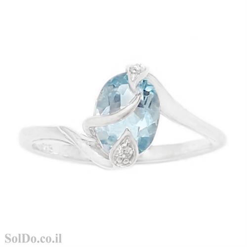 טבעת מכסף משובצת אבן טופז כחולה וזרקונים RG6142 | תכשיטי כסף 925 | טבעות כסף