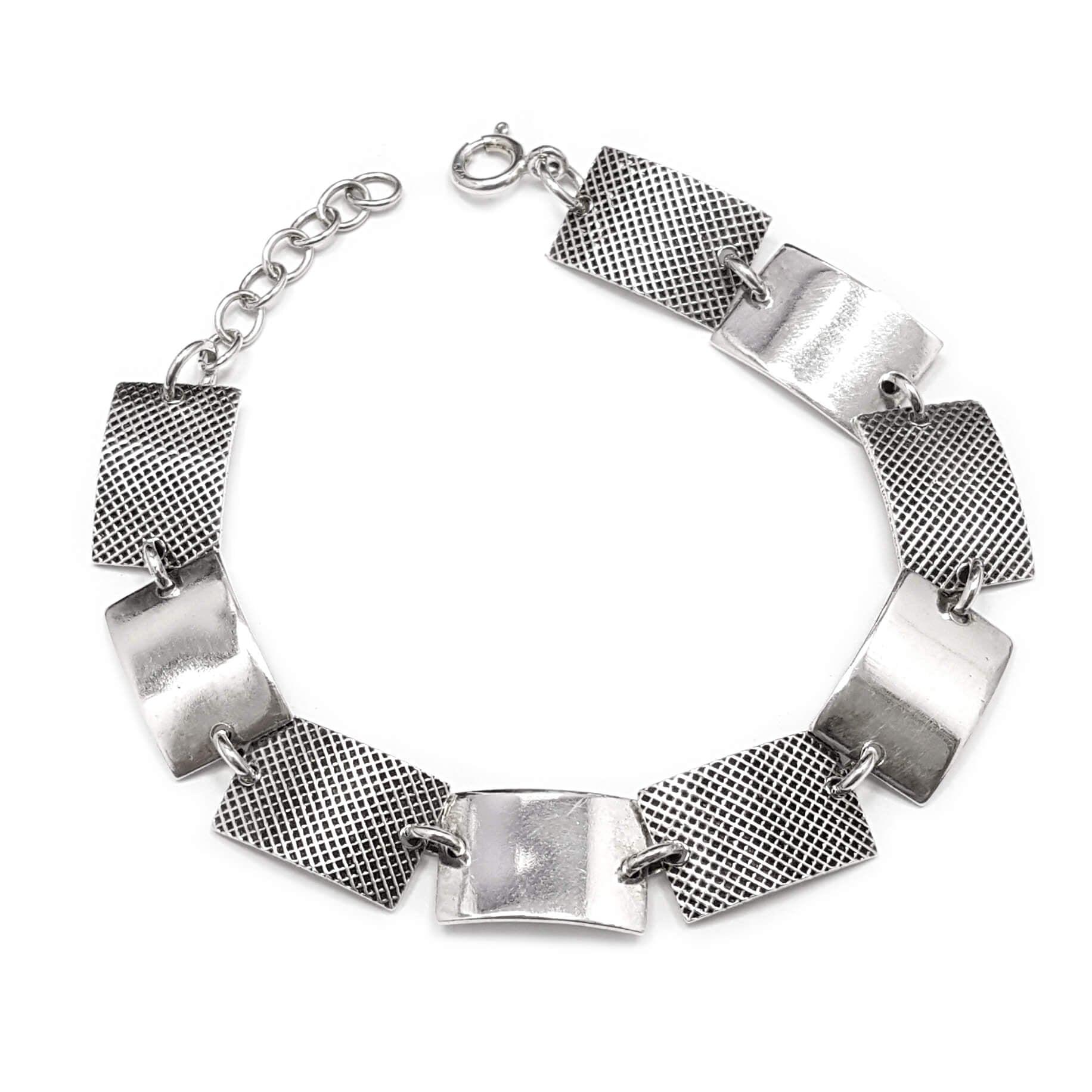 צמיד כסף מעוצב חוליות בצורת מלבן Z2997 | תכשיטי כסף 925 | צמידי כסף