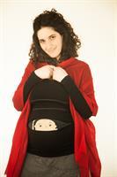 חולצת הריון תינוק מציץ מתוך רוכסן שרוול ארוך