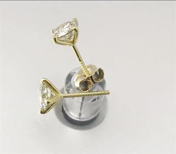 עגילי סוליטר בזהב 14 קאראט | עגילי יהלומים | יהלומים משובצים |יהלומים לבנים | 1 קראט | עגילים צמודים