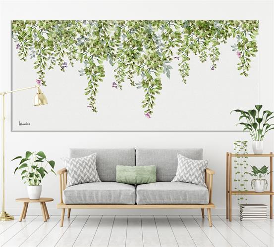תמונה של עלים ירוקים מעל ספה