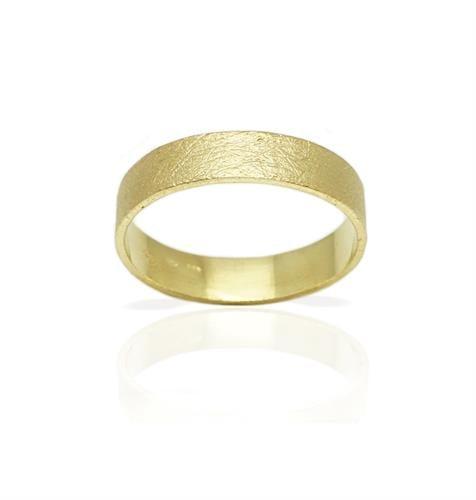 טבעת זהב נישואין 14 קרט במרקם מט מחוספס מיוחד