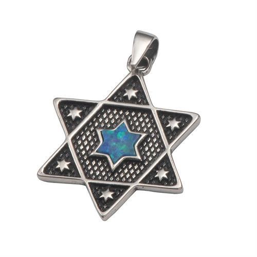 תליון מגן דוד ואבן כחול