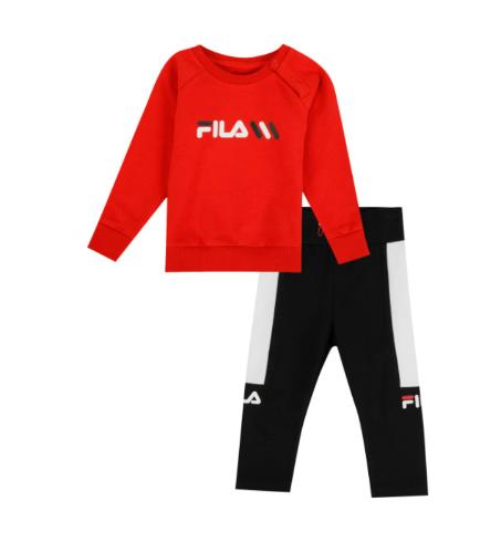 חליפת פוטר אדום עם טייץ שחור FILA -  מידות 6 - 24 חודשים