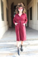 שמלה מכופתרת קורדרוי אדומה