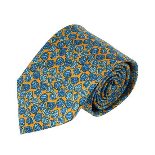 עניבה דגם פלחים כחול צהוב
