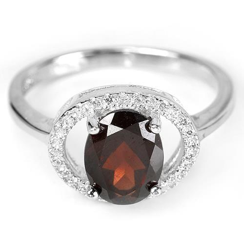טבעת כסף משובצת גרנט אדום RG2792 | תכשיטי כסף 925 | טבעות כסף