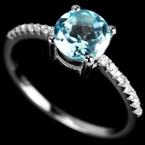 טבעת כסף משובצת טופז כחול וזרקונים RG5578 | תכשיטי כסף 925 | טבעות כסף
