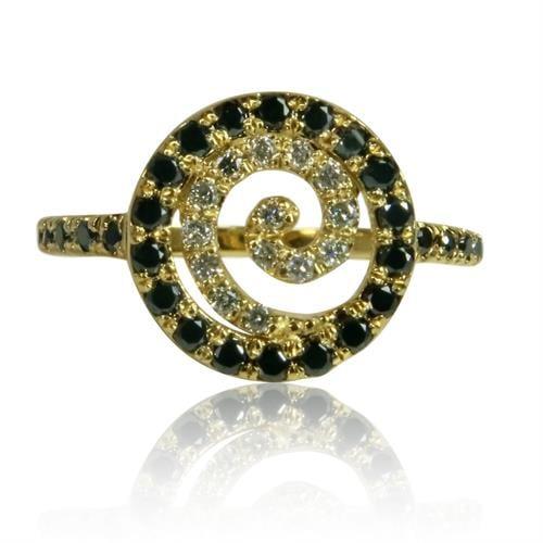 טבעת משובצת יהלומים שחור לבן דגם 'ספירלה' בזהב 14 קאראט