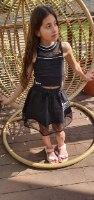 חליפת חצאית בשילוב רשת (6-16)