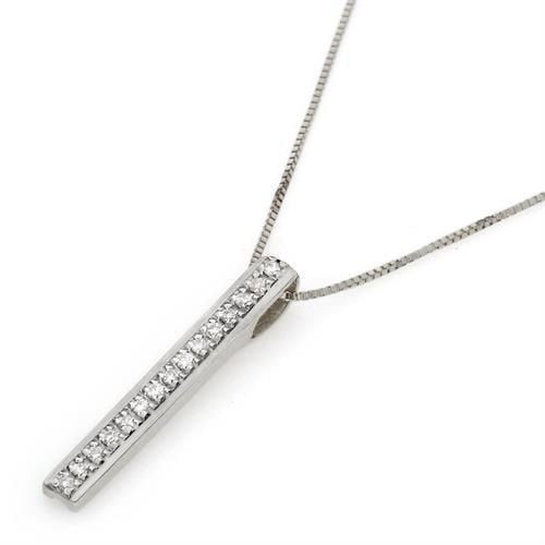 שרשרת פס יהלומים שרשרת בר משובץ יהלומים בזהב 14 קאראט