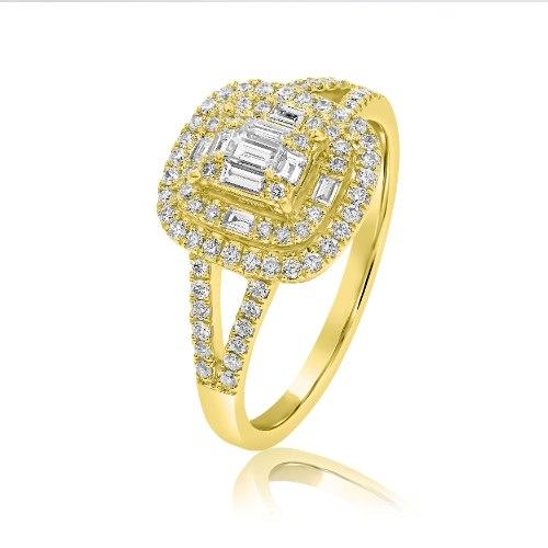 טבעת זהב 14 קראט 0.24 קראט יהלומים 812003 - מחיר מבצע!