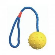 כדור גומי צהוב עם חבל