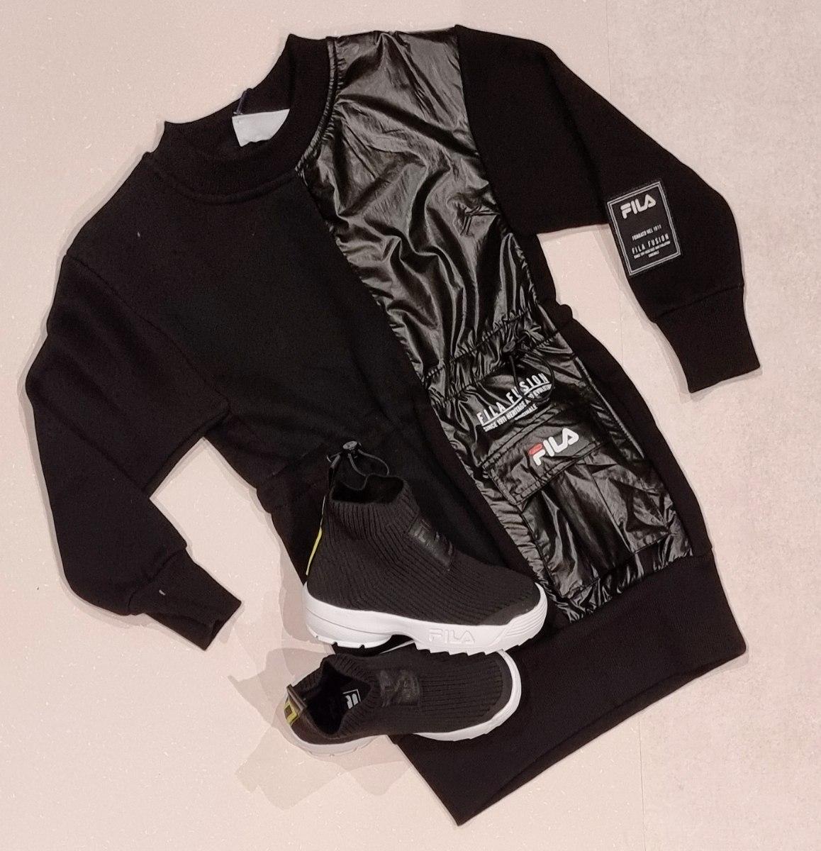 שמלה שחורה בשילוב ניילון FILA (6-16)
