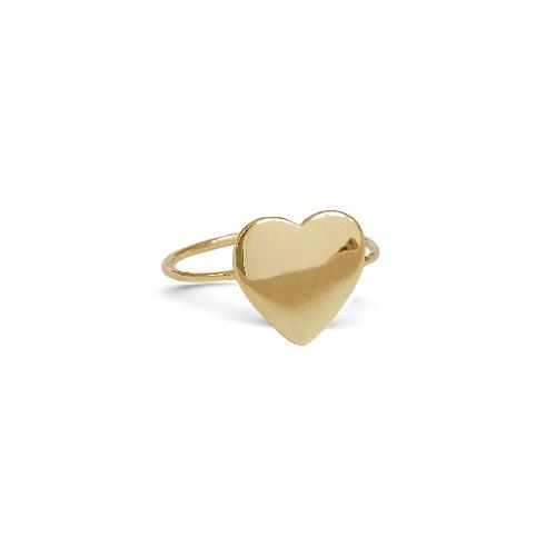 טבעת חותם לב בזהב 14 קרט