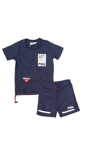 חליפת בנים כחולה לוגו לבן (FILA(2-8