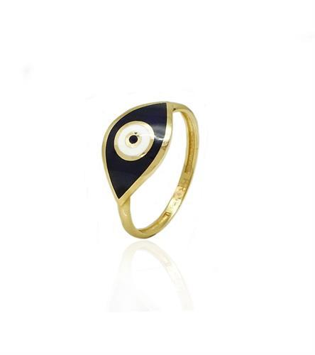 טבעת זהב עין רעה צבעונית עם אמייל כחול