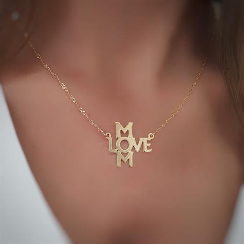 שרשרת LOVE MOM גולדפילד/כסף 925