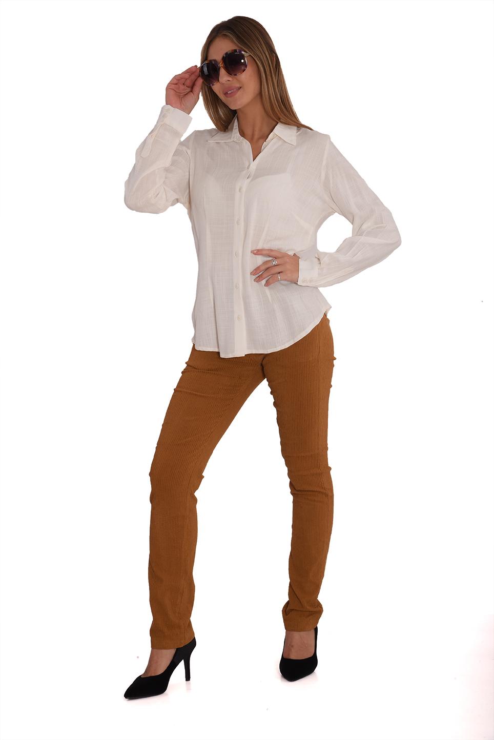 מכנס קורדרוי בגזרה ישרה בצבע חרדל