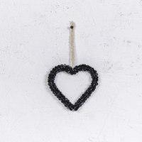 לב כפתורים - שחור